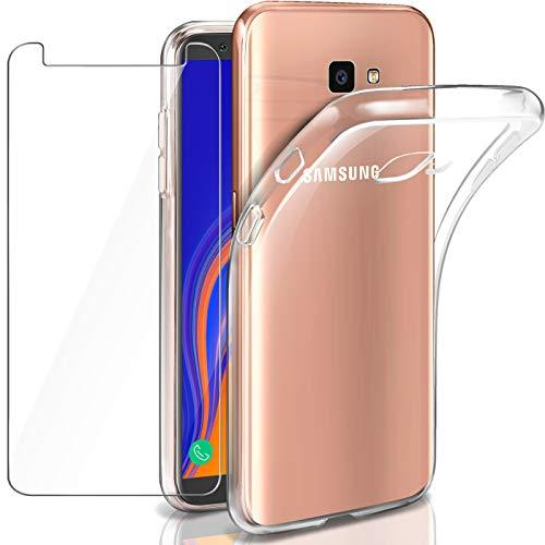 AROYI Samsung Galaxy J4 Plus Hülle + Panzerglas, Samsung J4 Plus Durchsichtig Case Transparent Silikon TPU Schutzhülle Premium 9H Gehärtetes Glas für Samsung J4 Plus