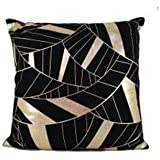 Casemantra™ Very Nice Print Of Yellow Lines On Black Pillow Cover Size 16 X 16