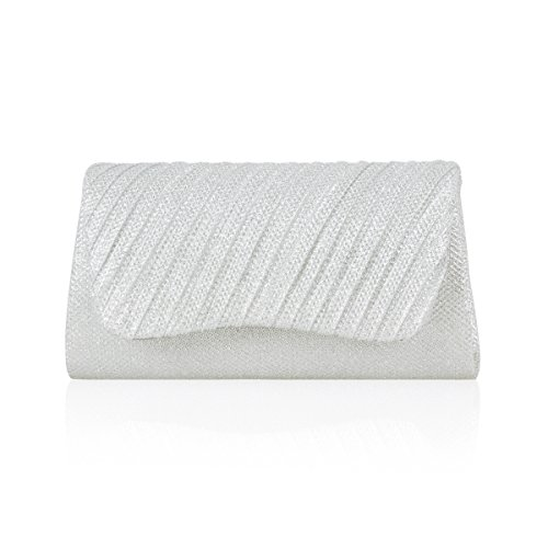 Damara® Damen Paillette Clutch Abendtasche Mit Schräg Faltenwurf Weiß