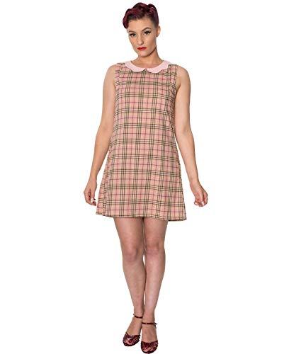 Dancing Days Klein Time Mädchen kariert 60s Jahre Shift Minikleid - Rosa, UK 10 (S) Milly Shift