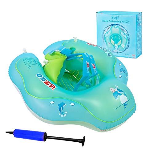 Gindoly Aufblasbarer Baby Schwimmring mit Pumpe , Dual Airbag, Kleinkind Schwimmsitz für die Badewanne und Schwimmbecken, Passend für Babys von 2-6 Jahre alt XL EINWEG