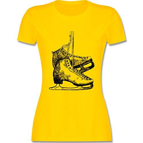 Wintersport - Schlittschuhfahren - tailliertes Premium T-Shirt mit Rundhalsausschnitt für Damen Gelb