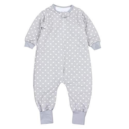 TupTam Baby Unisex Schlafsack mit Beinen und Ärmel Winter, Farbe: Sternchen Grau/Weiß, Größe: 92-98