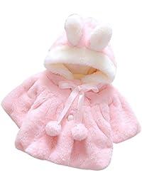 Amlaiworld Bebé niñas lactantes Otoño invierno abrigo capa cálida chaqueta gruesa ropa caliente (0-6 Mes, Rosa)