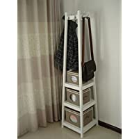 Homecharm-Intl 44x44x182CM Wooden coat rack stand with storage shelves&with 8 metal hooks,not include the 3 boxes,white (HC-039)