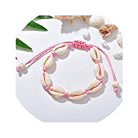 XFkbeA Anklets for Women Shell Foot Jewelry Summer Beach Barefoot Bracelet Ankle on Leg Ankle Strap Bohemian Accessories,Pink
