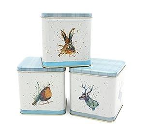 Highland Wildlife de cuisine Boîtes–Katherine Williams Motif–Lot de 3–Boîtes à thé, café, sucre