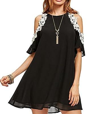 Aofur Women's Summer Cold Shoulder Tunic Top Dresses Loose Chiffon Casual Short Sleeve Swing T Shirt Dress