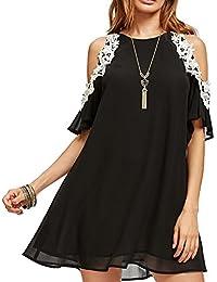 1fbfda4b40ffd6 Aofur Women s Summer Cold Shoulder Tunic Top Dresses Loose Chiffon Casual  Short Sleeve Swing T Shirt