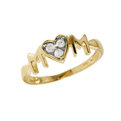 0,1Karat natürlicher Diamant 10ct Gelbgold Herz 'MOM' Ring für Frauen (Größe Ringe 10 Mom)