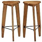Festnight- Barstühle 2 STK. | Dreieckig Barhocker | Vintage Tresenhocker | Barstuhl 2er Set | Rustikal Küchenhocker | Akazienholz Massiv 34x33x73 cm