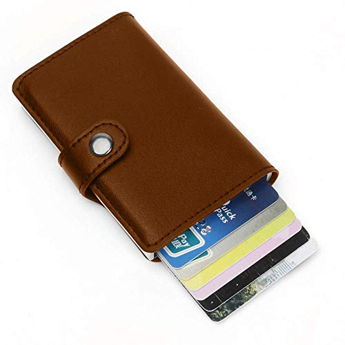 CLUONE Geldbörse Kredit-Kartenetui für Herren mit Geldklammer, Premium, kompakt, Geld Clip, RFID NFC Schutz, Geldbeutel, Aluminium, Slim Wallet (braun) - Geldbörse Mit Geld-clip