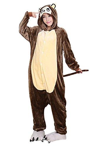 Unisex Erwachsene Pyjama Jumpsuit Affe Kostüm Onesie Schlafanzug Hausanzug Overall Braun Größe - Kostüm Für Affe Damen