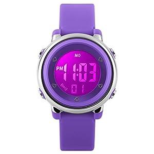 Kinder Digital Sport Uhren – Mädchen 5 Bar Wasserdicht Uhren Sportuhr mit Wecker, Stoppuhr Armbanduhr mit 7 LED Hintergrundbeleuchtung für Kinder