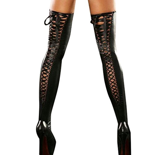 Luckycat Club Frauen Bequeme Oberschenkel-Hohe Strümpfe PU Leder Spitze Socken Mode Dessous Damen Hoch Strümpfe Lace Bow Lange Stocking High Socks Bandage (Schwarz, One Size) (Damen Dessous Leder)