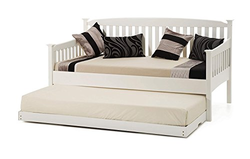 KOSY KOALA WHITE SHAKER STYLE 3FT SINGLE DAYBED WITH UNDER DAY BED GUEST TRUNDLE, MATTRESS OPTION AVAILABLE (WITH 2 MATTRESSES)