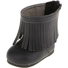 Muñecas Fashion Pares de Botas Zapatos con Flecos Borla para American Girl 18 Pulgadas - Azul Marino