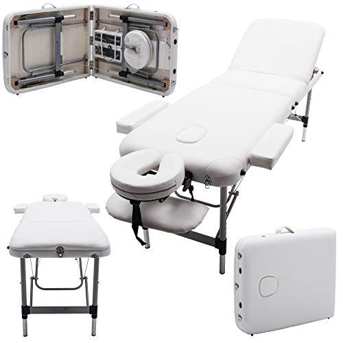 Massage Imperial® - Tragbare Massageliege - Leicht - Mayfair 12 kg - 5 cm /2 Schaumstoff mit hoher Dichte - Aluminium - - 3-teilig - Elfenbeinweiß
