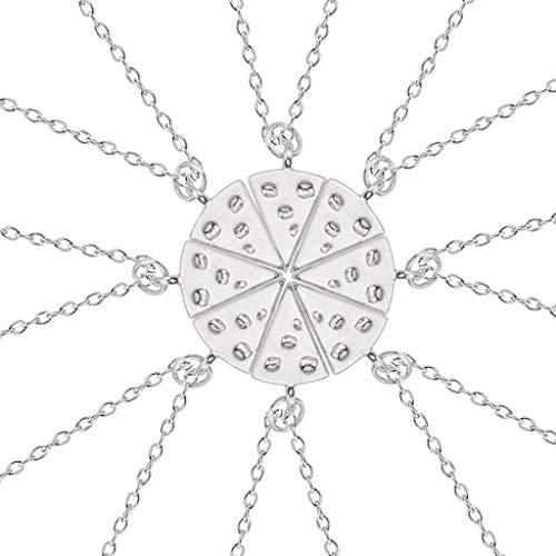 ette 8er Silber Pizza Anhänger Halskette Pizza Best Friends Forever Halskette Damen Accessoires SLZT ()