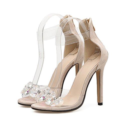 Sandali da donna abito da sposa sexy caviglia trasparente cinturino décolleté sposa tacco alto slip-on décolleté tagliati pompe scarpe da donna,nude-eu36/230