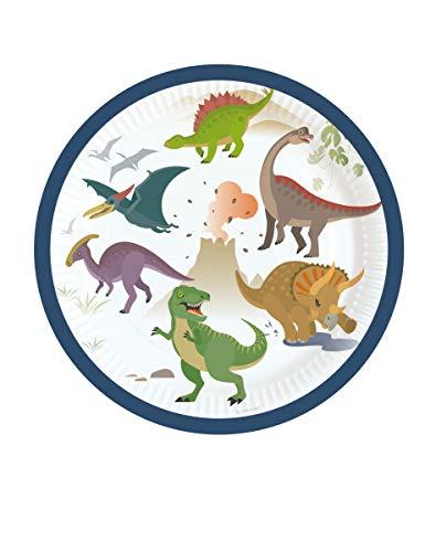 Teller aus Karton, groß, Dinosaurier, 18 cm ()