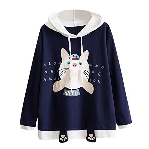 Tianwlio Damen Winter Langarmshirt Hoodie Pullover Lässiges Langärmliges Katzenkratzer Drucken Tasche Dünnes Hoodie Blusen Top Shirt Marine S
