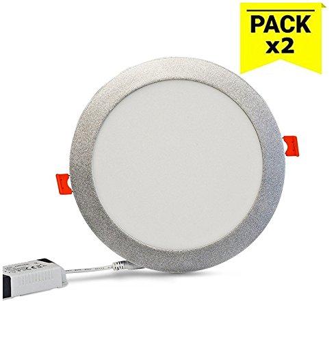 Barcelona Pack de 2 LED, B1272-P-BF, downlight LED circulaire extra-plat à encastrer Cadre argenté 18 W Blanc froid 6000 K 1490 lm