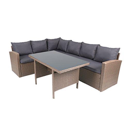 """Rattan-Lounge """"Solia"""" - Gartenmöbel-Set 3-teilig aus Polyrattan in Grau mit Auflagen in..."""