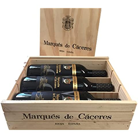 Caja de madera 3 botellas - Marqués de Caceres Gran Reserva 2009- Vino tinto