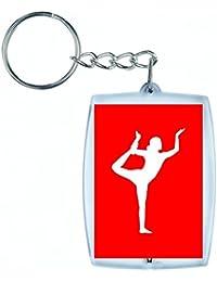 """'Porte-clés """"exercice de Femelle de Madame de fille de pose de yoga de Pistes de posieren de silhouette de santé Fitness Sac de Personnes dans noir/blanc/bleu/rose/jaune/rouge/vert   Caddie–Remorque–Sac à dos–Porte-clés, Rot"""