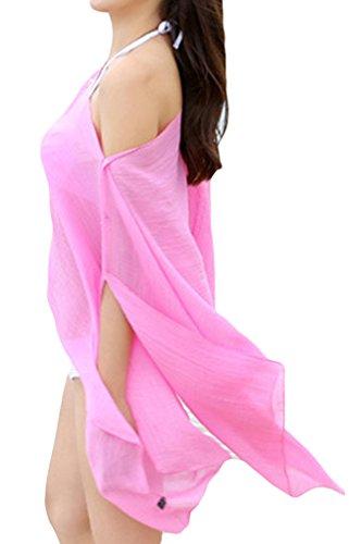 EOZY Damen Sommerkleid Beachwear Bikini Cover Up Strandkleider Pink