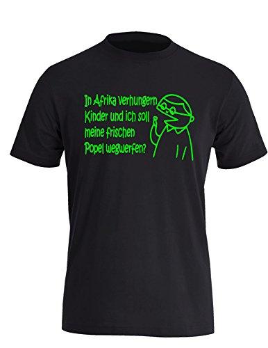 Popel Junge - In Afrika verhungern Kinder und ich soll meine Popel wegwerfen? - lustiges Geschenk - Herren Rundhals T-Shirt Schwarz/Neongruen