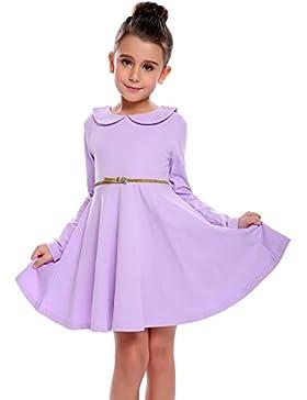 CHIGANT Mädchen Langarm Kleid Sweatkleid A-line Kleid Skaterkleid mit Bubikragen Gürtel für Herbst und Frühling...