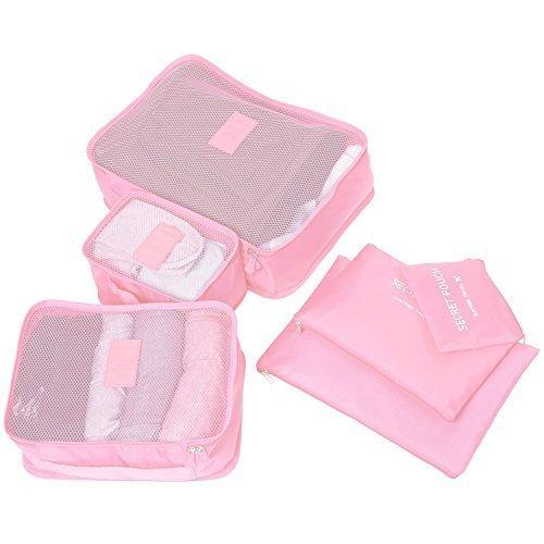 Molain 6-en-1 Set de Organizador de Equipaje, Impermeable Organizador de Maleta Bolsa para Ropa Sucia de Viaje, Material Nylon (Rosa)