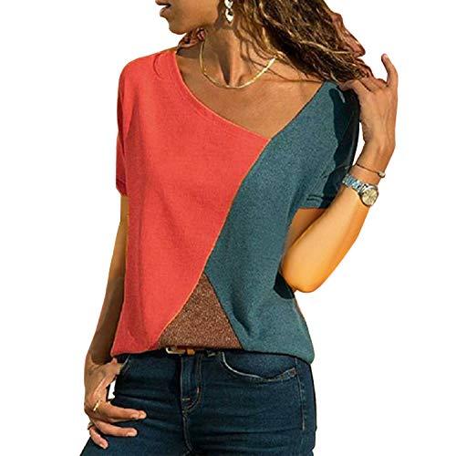 UPhitnis OberteileDamen Tunika Tops T-Shirt Bluse Damen Casual Patchwork Farbblock Oberteil Asymmetrischer V-Ausschnitt Tunika T-Shirt - Rock Und Bluse
