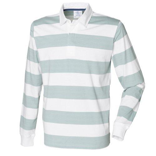 Streifen Button-front Shirt (Front Row Herren Rugby Polo-Shirt, gestreift, Langarm (2XL) (Weiß/Blau))