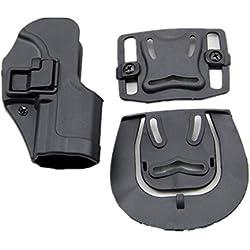 haoYK Tactical Airsoft pistolet dissimulation tirage main droite Paddle ceinture ceinture Holster pour H & K USP Compact (Noir)