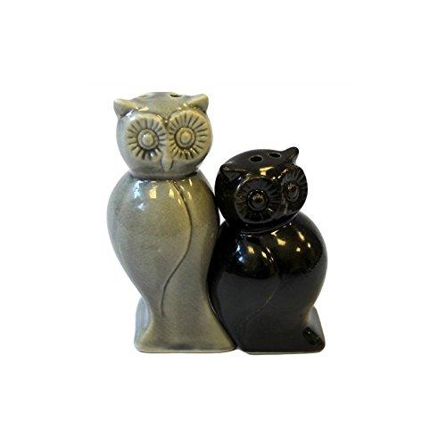 Salière et poivrière - Chouettes noir et gris
