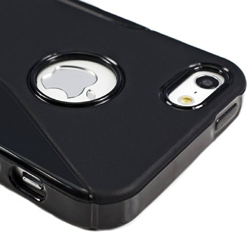 kwmobile Étui en TPU silicone élégant pour Apple iPhone SE / 5 / 5S en doré métallique S-Line noir