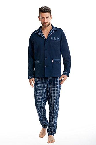 FOREX Lingerie edler Herren-Pyjama aus 100% Baumwolle Schlafanzug Hausanzug im tollen Design, marine, Gr. M