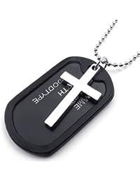 KONOV Joyería Collar con Colgante de hombre, Cruz Dog Tag, Placa Nombre Militar, Cadena 68cm, Aleación, Color negro plata (con bolsa de regalo)