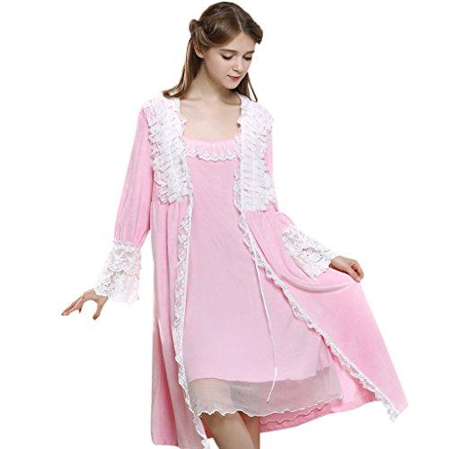 GWELL Flanell Spitze Nachthemd Set Pyjama Damen Langarm Nachtwäsche Bademantel Sleepshirt Zweiteiliger Rosa