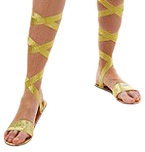 erdbeerloft - Erwachsene Römersandalen, Kostüm Zubehör, Karneval, Gold (Griechische Krieger Halloween Kostüm)