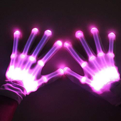 DULEE Unisex Adult s Halloween LED Flashing Golves Colorful Finger Rave Gloves Pink