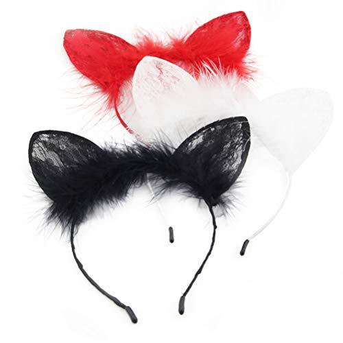 Amosfun Katzenohren Stirnband Spitze Haarband Katze Ohr geformt Kopfschmuck für Halloween Party Dekoration 3St