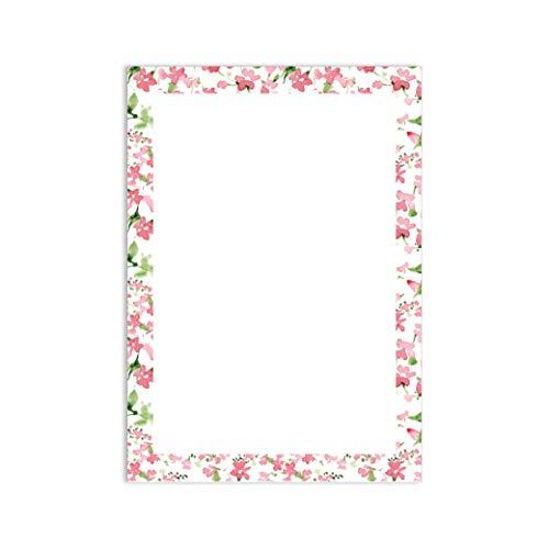 Briefpapier Set Blumenrahmen I 50 Blatt Motiv-Papier in DIN A4 I rosa grün weiß I Frühling Blumen Einladung Geburtstag Liebe ohne Umschlag I dv_020