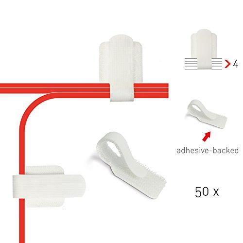 Label-the-cable Kabelhalter selbstklebend mit Klettverschluss, Kabelführung, Kabelbinder, Kabelbefestigung, Kabelschellen (Klett), für Wand und Schreibtisch/PRO Wall wt, 50 Stück, Weiß, PRO 3120