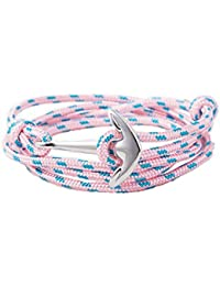 Armband Anker aus Metall silber mit Seil geflochten für Damen und Herren