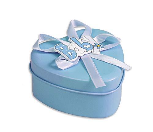 Vetrineinrete® scatoline portaconfetti 36 pezzi a forma di cuore per nascita battesimo scatole per confetti bomboniere segnaposto in latta per neonato bimba bimbo (celeste) b50