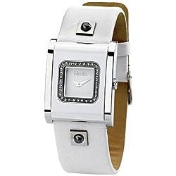 Misaki Watches - Reloj analógico de cuarzo para mujer con correa de piel, color blanco